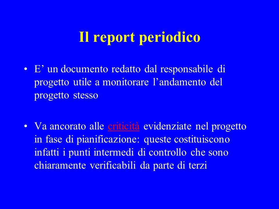 Il report periodico E un documento redatto dal responsabile di progetto utile a monitorare landamento del progetto stesso Va ancorato alle criticità e