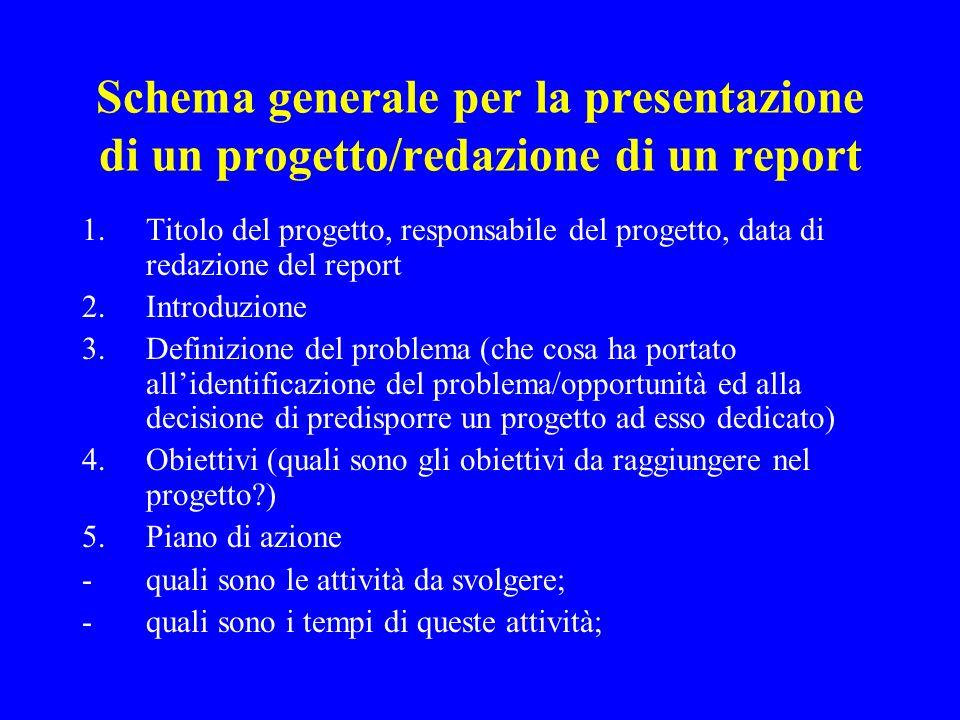 Schema generale per la presentazione di un progetto/redazione di un report 1.Titolo del progetto, responsabile del progetto, data di redazione del rep