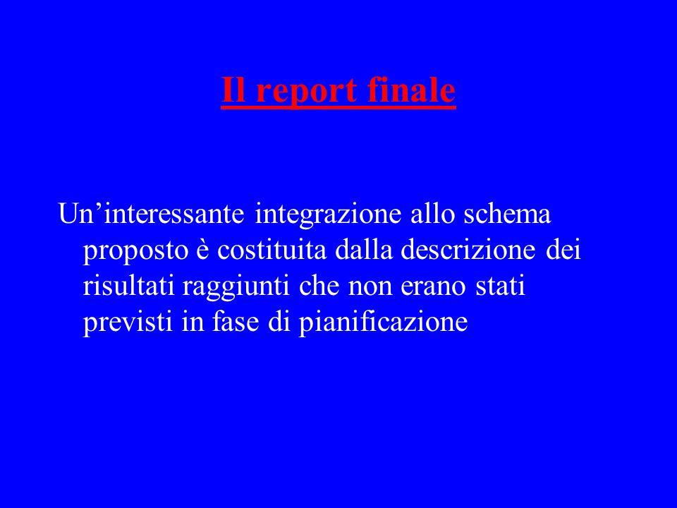 Il report finale Uninteressante integrazione allo schema proposto è costituita dalla descrizione dei risultati raggiunti che non erano stati previsti in fase di pianificazione