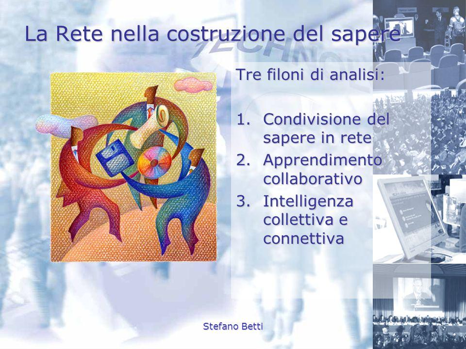 Stefano Betti La Rete nella costruzione del sapere Tre filoni di analisi: 1.Condivisione del sapere in rete 2.Apprendimento collaborativo 3.Intelligen