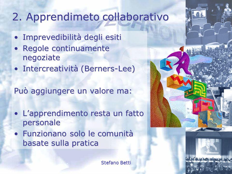 Stefano Betti 2. Apprendimeto collaborativo Imprevedibilità degli esitiImprevedibilità degli esiti Regole continuamente negoziateRegole continuamente