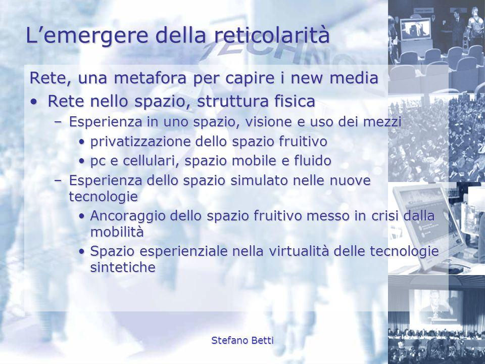 Stefano Betti Lemergere della reticolarità Rete, una metafora per capire i new media Rete nello spazio, struttura fisicaRete nello spazio, struttura f