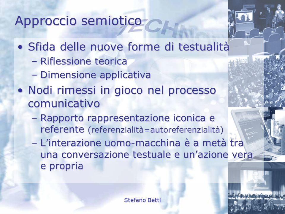 Stefano Betti Approccio semiotico Sfida delle nuove forme di testualitàSfida delle nuove forme di testualità –Riflessione teorica –Dimensione applicat
