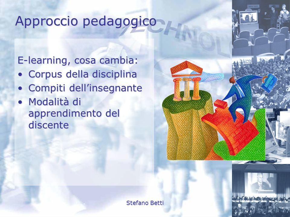 Stefano Betti Approccio pedagogico E-learning, cosa cambia: Corpus della disciplinaCorpus della disciplina Compiti dellinsegnanteCompiti dellinsegnant