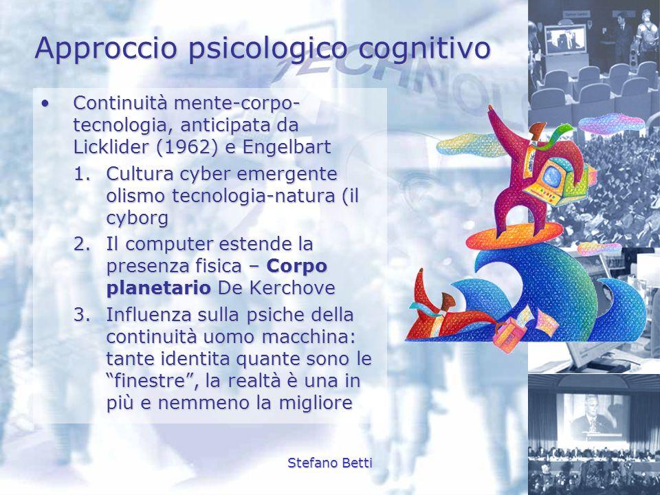 Stefano Betti Approccio psicologico cognitivo Continuità mente-corpo- tecnologia, anticipata da Licklider (1962) e EngelbartContinuità mente-corpo- te