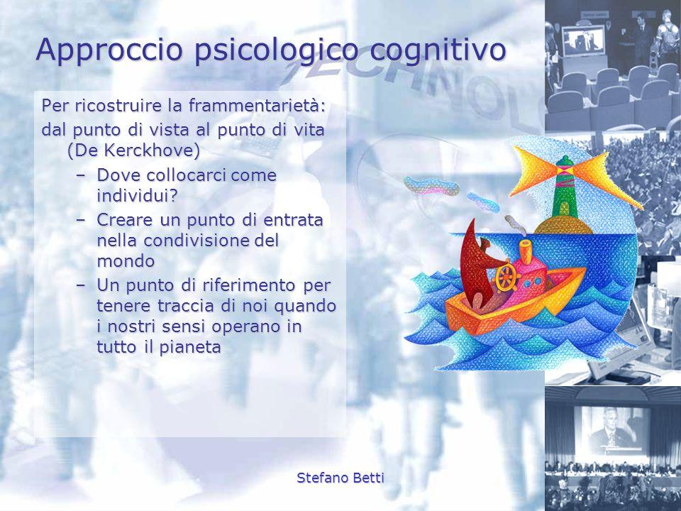 Stefano Betti Approccio psicologico cognitivo Per ricostruire la frammentarietà: dal punto di vista al punto di vita (De Kerckhove) –Dove collocarci c