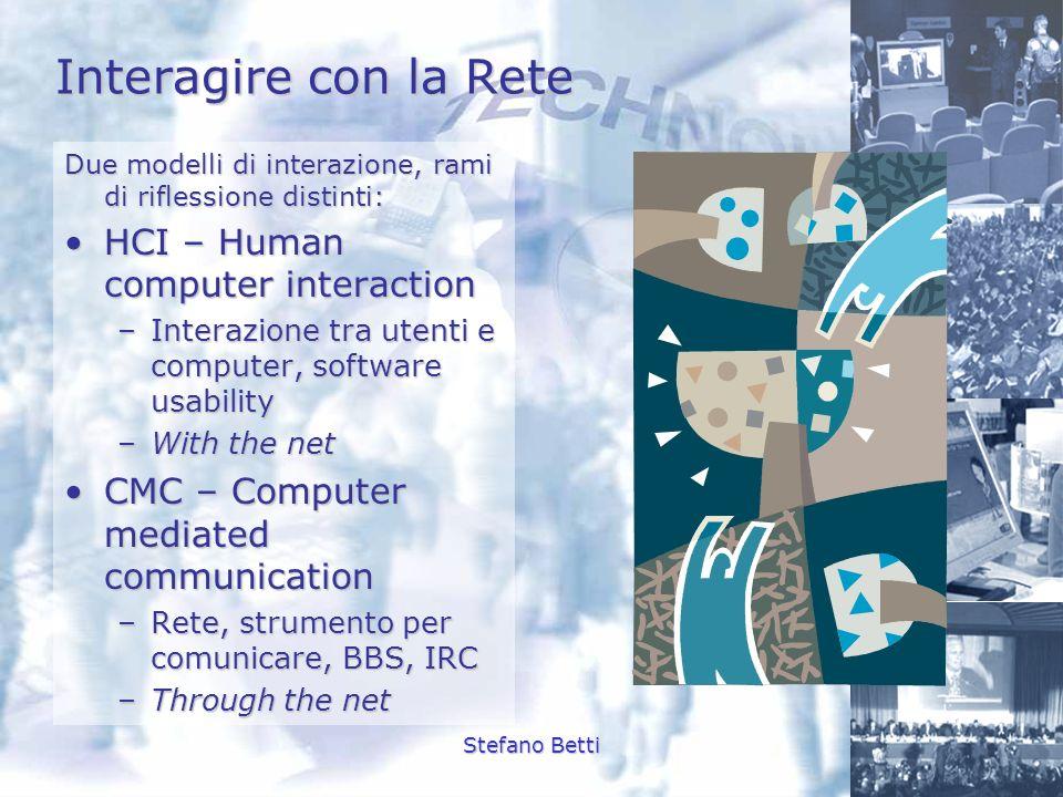 Stefano Betti Interagire con la Rete Due modelli di interazione, rami di riflessione distinti: HCI – Human computer interactionHCI – Human computer in
