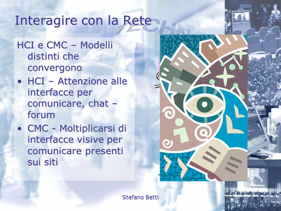 Stefano Betti Interagire con la Rete HCI e CMC – Modelli distinti che convergono HCI – Attenzione alle interfacce per comunicare, chat – forumHCI – At