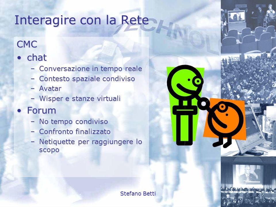 Stefano Betti Interagire con la Rete CMC chatchat –Conversazione in tempo reale –Contesto spaziale condiviso –Avatar –Wisper e stanze virtuali ForumFo