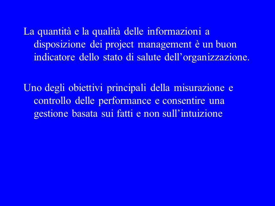 La quantità e la qualità delle informazioni a disposizione dei project management è un buon indicatore dello stato di salute dellorganizzazione.