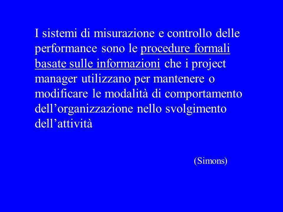 I sistemi di misurazione e controllo delle performance sono le procedure formali basate sulle informazioni che i project manager utilizzano per mantenere o modificare le modalità di comportamento dellorganizzazione nello svolgimento dellattività (Simons)