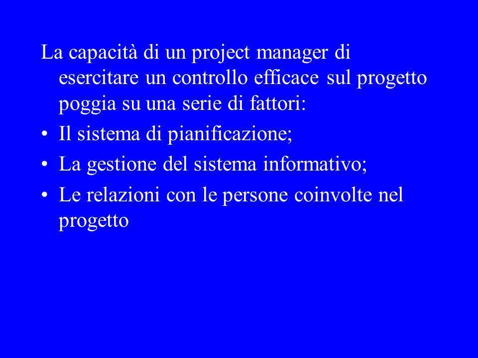 La capacità di un project manager di esercitare un controllo efficace sul progetto poggia su una serie di fattori: Il sistema di pianificazione; La gestione del sistema informativo; Le relazioni con le persone coinvolte nel progetto