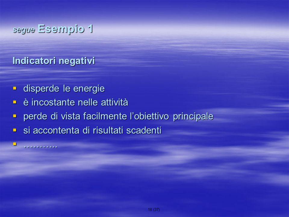 18 (37) segue Esempio 1 Indicatori negativi disperde le energie disperde le energie è incostante nelle attività è incostante nelle attività perde di v