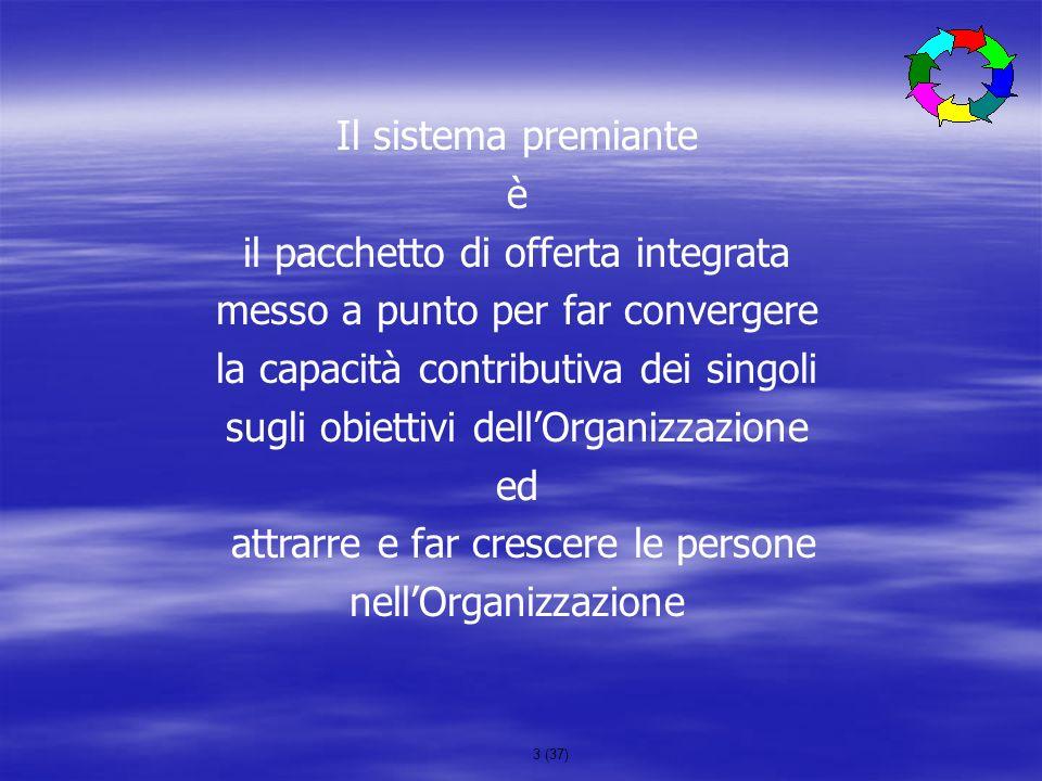 3 (37) Il sistema premiante è il pacchetto di offerta integrata messo a punto per far convergere la capacità contributiva dei singoli sugli obiettivi