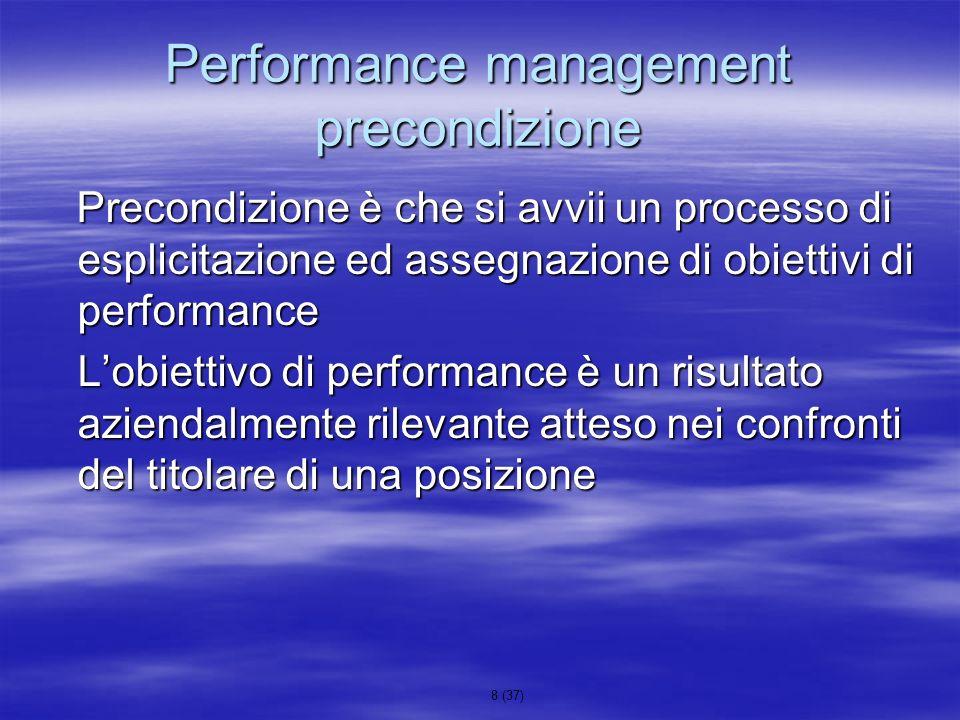 8 (37) Performance management precondizione Precondizione è che si avvii un processo di esplicitazione ed assegnazione di obiettivi di performance Pre