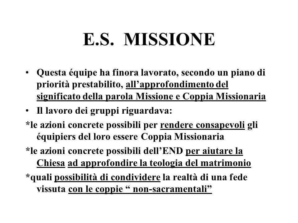 E.S. MISSIONE Questa équipe ha finora lavorato, secondo un piano di priorità prestabilito, allapprofondimento del significato della parola Missione e