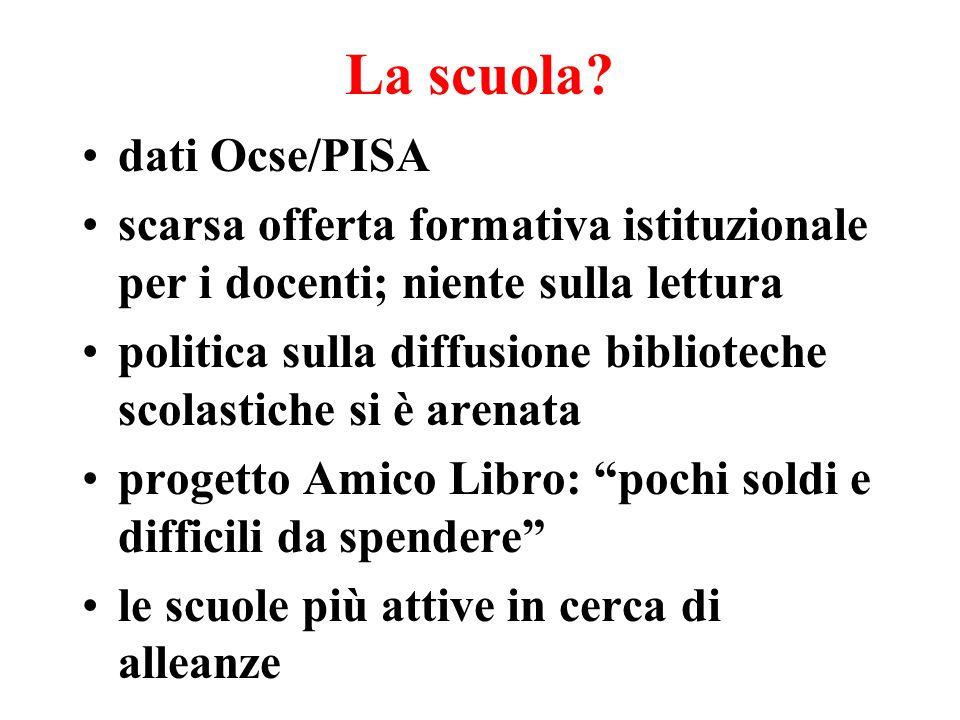 La scuola? dati Ocse/PISA scarsa offerta formativa istituzionale per i docenti; niente sulla lettura politica sulla diffusione biblioteche scolastiche
