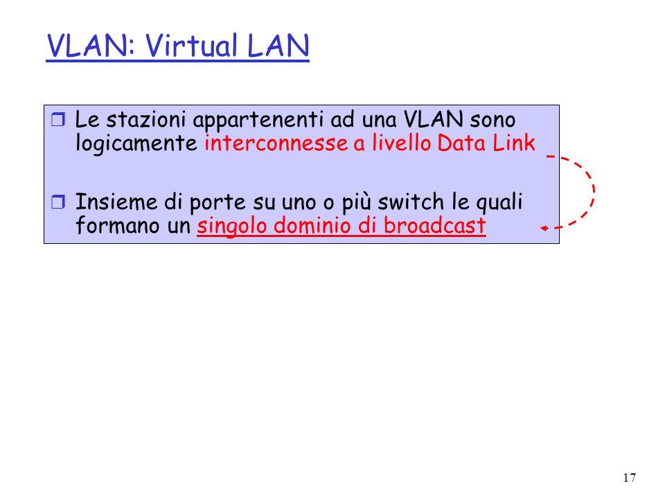 17 VLAN: Virtual LAN r Le stazioni appartenenti ad una VLAN sono logicamente interconnesse a livello Data Link r Insieme di porte su uno o più switch le quali formano un singolo dominio di broadcast