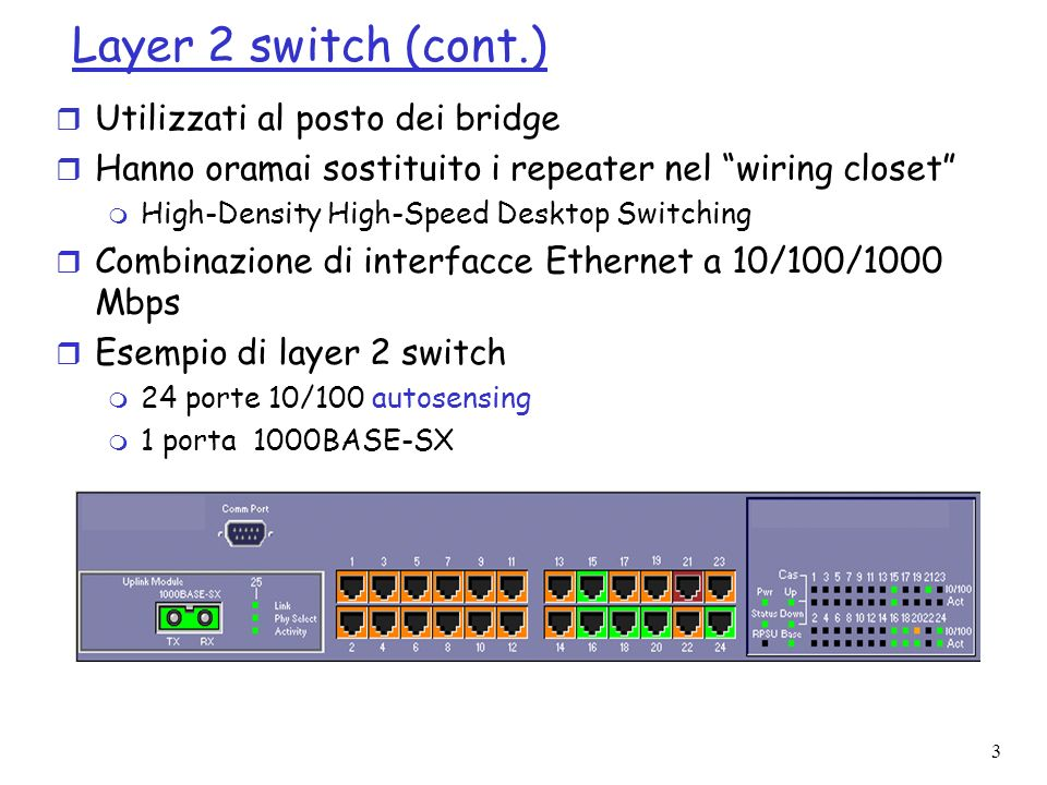 4 Layer 2 switch (cont.) r Applicazioni L2SW 100 Mbps 1Gbps Peer-to-peer Client-server 10 Mbps100 Mbps 1Gbps Dorsale 1Gbps 100 Mbps 10 Mbps 100 Mbps