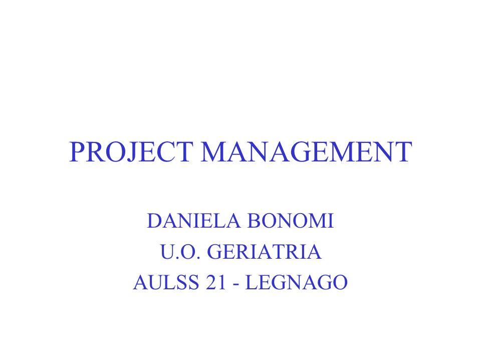 PROJECT MANAGEMENT DANIELA BONOMI U.O. GERIATRIA AULSS 21 - LEGNAGO