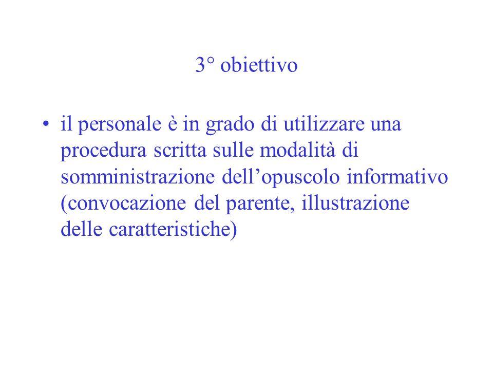 3° obiettivo il personale è in grado di utilizzare una procedura scritta sulle modalità di somministrazione dellopuscolo informativo (convocazione del