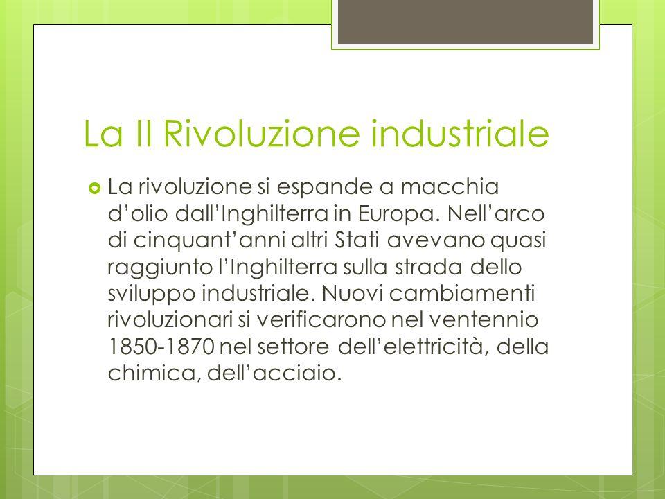 La II Rivoluzione industriale La rivoluzione si espande a macchia dolio dallInghilterra in Europa. Nellarco di cinquantanni altri Stati avevano quasi