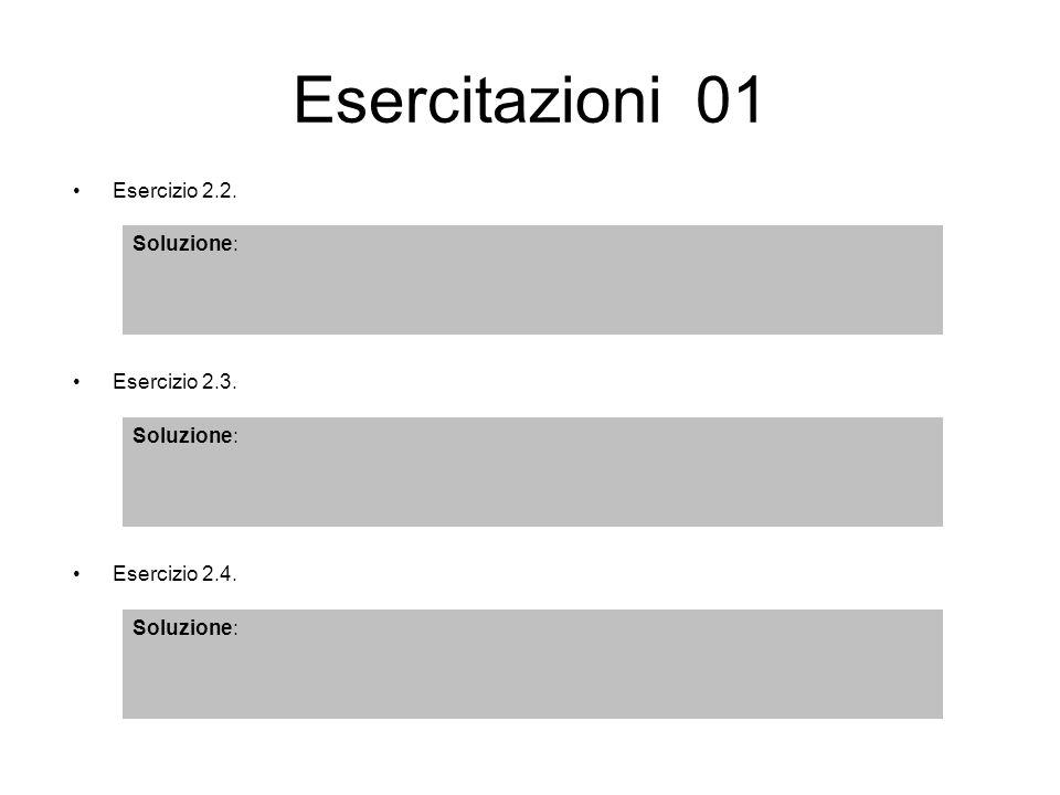 Esercitazioni 01 Esercizio 2.4. Soluzione: Esercizio 2.3. Soluzione: Esercizio 2.2. Soluzione:
