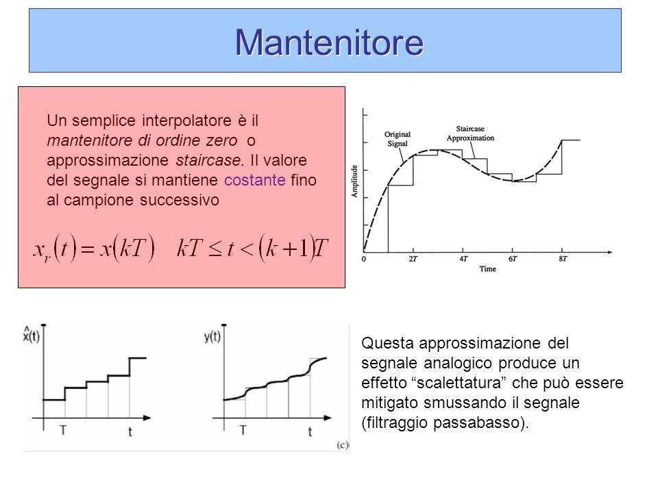 Mantenitore Un semplice interpolatore è il mantenitore di ordine zero o approssimazione staircase. Il valore del segnale si mantiene costante fino al