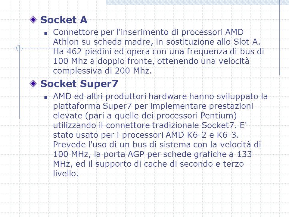 Socket A Connettore per l inserimento di processori AMD Athlon su scheda madre, in sostituzione allo Slot A.
