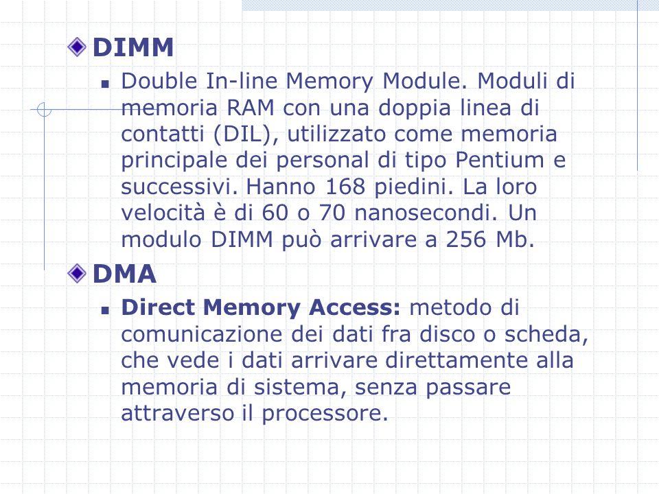 DRAM Dynamic RAM.E il tipo di RAM montata sulle SIMM e sulle DIMM.