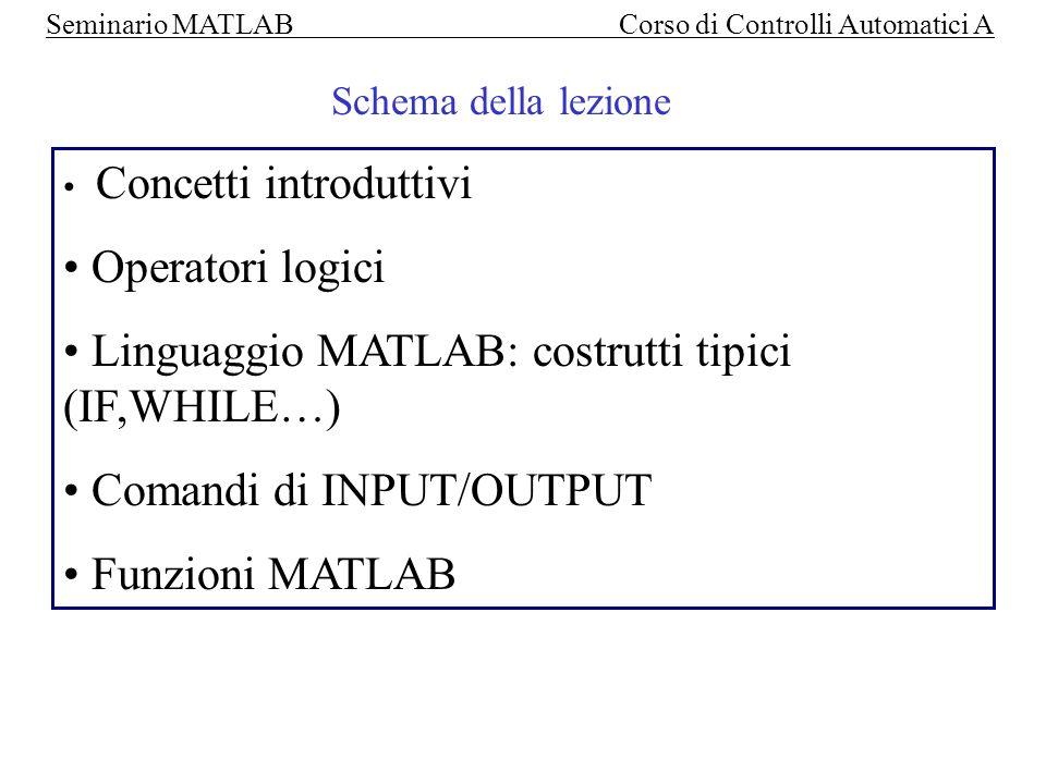 Seminario MATLAB Corso di Controlli Automatici A Definizione di una matrice: >> A=[ 1,5,3 ; 4,3,2; 3,1,9 ] ; A= [ 1 5 3 4 3 2 3 1 9 ] Concetti introduttivi Lettura di un singolo elemento della matrice: >> X= A (2,3) X=2
