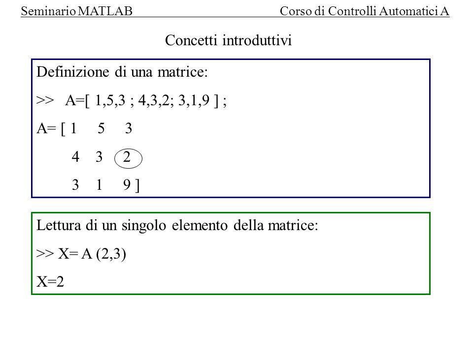 Seminario MATLAB Corso di Controlli Automatici A TRASPOSTA: >> B=A ( oppure B=transpose(A) ) B= [ 1 4 3 5 3 1 3 2 9 ] DETERMINANTE: >> X = det (A) X = -140 INVERSA DELLA MATRICE >> B = inv (A)