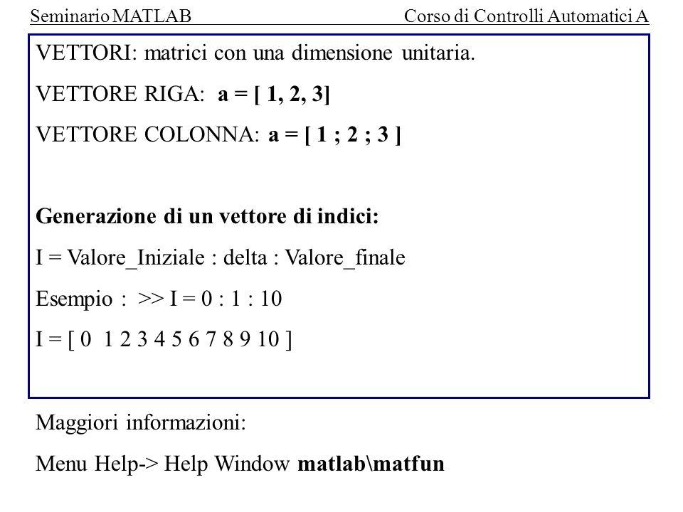 Seminario MATLAB Corso di Controlli Automatici A ESEMPIO: vogliamo generare un vettore a RAMPA I=1; FOR t=0: 0.1 : 5 Y(I) = t ; I=I+1; END Y diviene un vettore composto da 50 valori: Y= [ 0, 0.1, 0.2, 0.3, 0.4, …., 5]