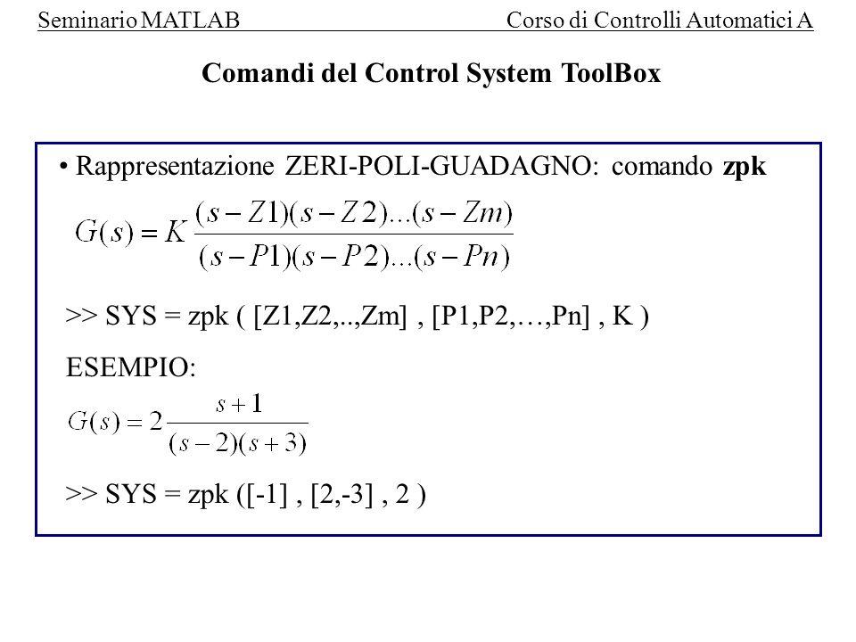Seminario MATLAB Corso di Controlli Automatici A Risposta allimpulso e al gradino del modello : Comandi STEP e IMPULSE 2 modi di utilizzo: step ( SYS) => i tempi di campionamento vengono scelti automaticamente ; step (SYS, T) => T definisce gli istanti di campionamento T = T i niziale : step : T finale ( vettore colonna ) [ Y, T1 ] = step ( SYS, T) => non viene plottato il risultato, nella matrice ( o vettore) Y si ha landamento delle uscite mentre T1 contiene il vettore degli istanti di campionamento.