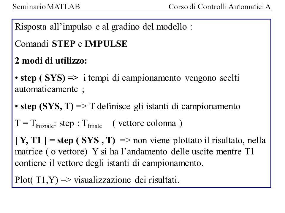 Seminario MATLAB Corso di Controlli Automatici A ESEMPIO: SWITCH (a) CASE (1) % se a=1 allora esegue queste istruzioni Y(1) = a; CASE(2) Y(1)=a-1; OTHERWISE Y(1)=0; END Menu Help->Help Window: matlab\lang