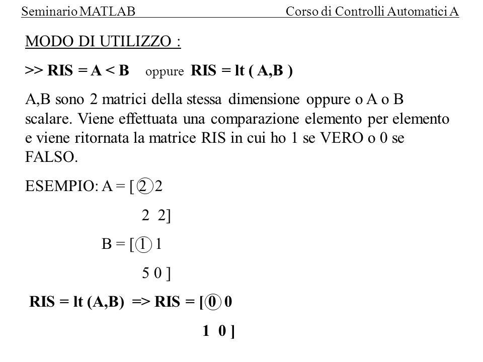 Seminario MATLAB Corso di Controlli Automatici A Operatori logici Operatori binari: FORMATO: RIS = operatore ( A, B) AND oppure & => VERO se entrambi diversi da zero OR oppure .