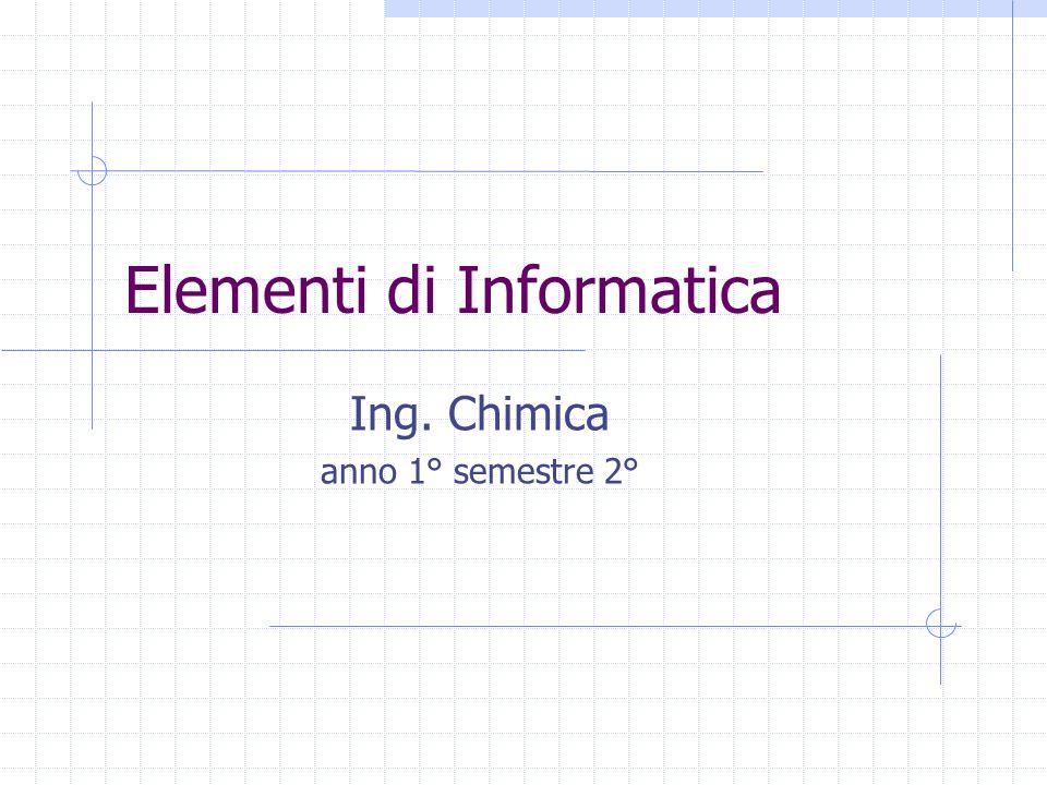 Elementi di Informatica Ing. Chimica anno 1° semestre 2°