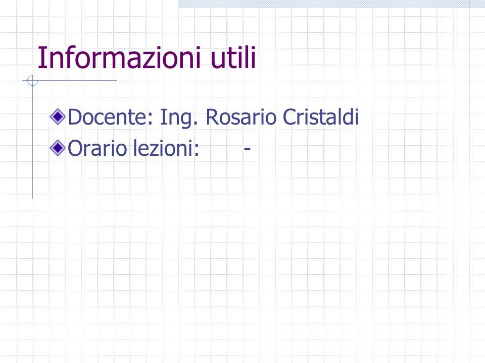 Informazioni utili Docente: Ing. Rosario Cristaldi Orario lezioni:-