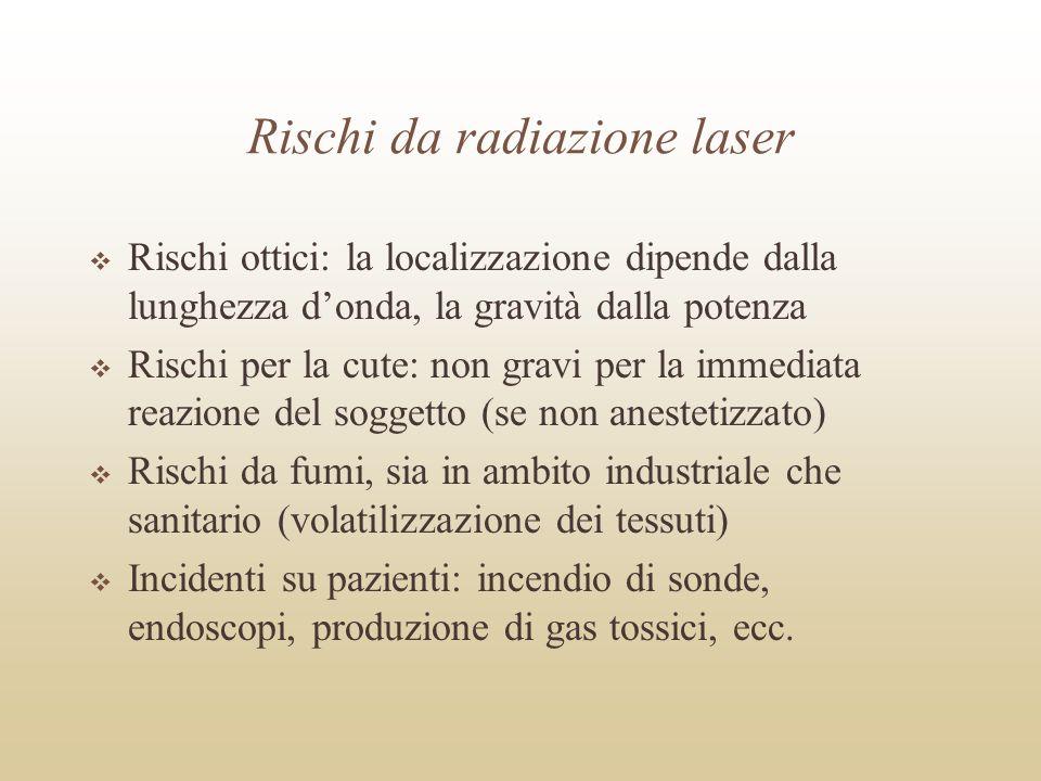 Rischi da radiazione laser Rischi ottici: la localizzazione dipende dalla lunghezza donda, la gravità dalla potenza Rischi per la cute: non gravi per