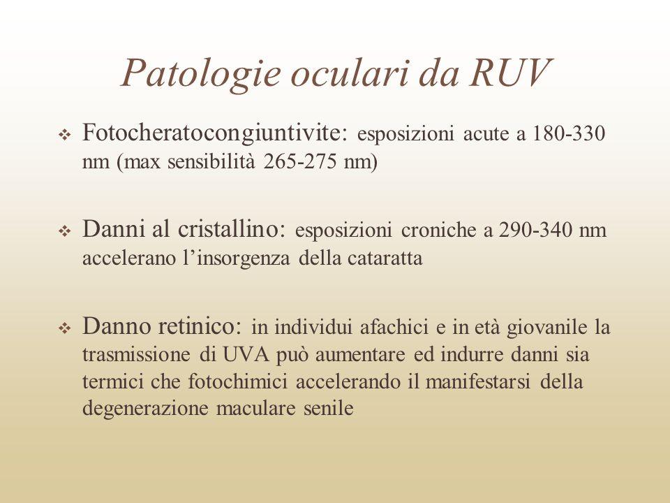 Effetti delle RUV sulla pelle Fotoelastosi (220-240 nm) Eritema (200-400 nm) Fotocancerogenesi (270-400 nm) Reazioni fototossiche e fotoallergiche (280-400 nm) Immunosoppressione (250-400 nm) - condizione in cui vengono contrastate le risposte immunitarie di un soggetto Pigmentazione adattativa (200-400 nm)