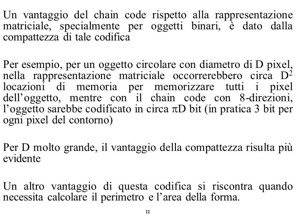 11 Un vantaggio del chain code rispetto alla rappresentazione matriciale, specialmente per oggetti binari, è dato dalla compattezza di tale codifica P