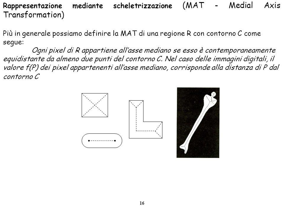 16 Rappresentazione mediante scheletrizzazione (MAT - Medial Axis Transformation) Più in generale possiamo definire la MAT di una regione R con contor