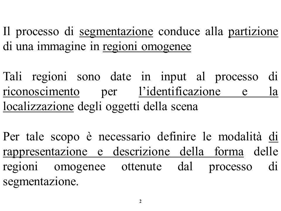 2 Il processo di segmentazione conduce alla partizione di una immagine in regioni omogenee Tali regioni sono date in input al processo di riconoscimen