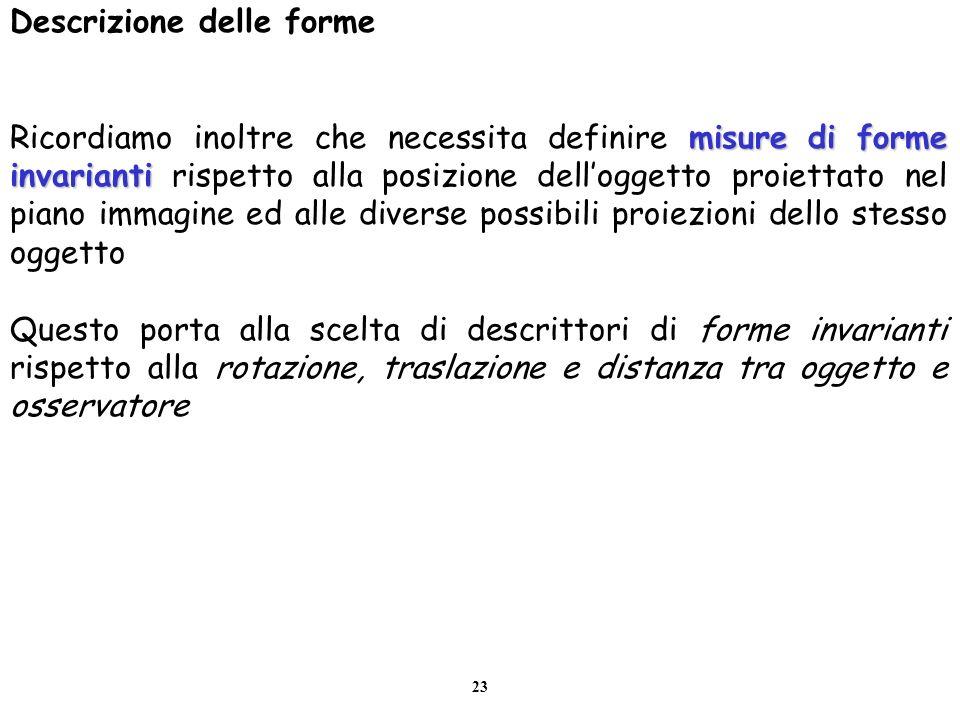 23 Descrizione delle forme misure di forme invarianti Ricordiamo inoltre che necessita definire misure di forme invarianti rispetto alla posizione del