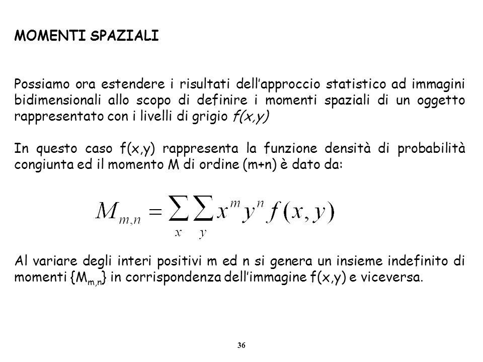 36 MOMENTI SPAZIALI Possiamo ora estendere i risultati dellapproccio statistico ad immagini bidimensionali allo scopo di definire i momenti spaziali d