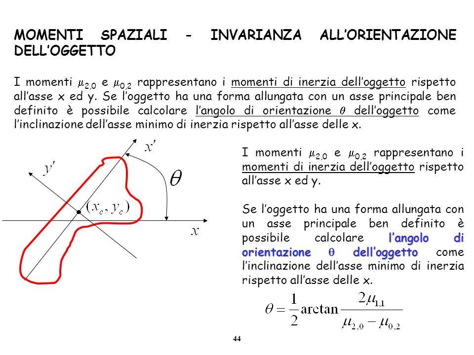 44 MOMENTI SPAZIALI - INVARIANZA ALLORIENTAZIONE DELLOGGETTO I momenti 2,0 e 0,2 rappresentano i momenti di inerzia delloggetto rispetto allasse x ed