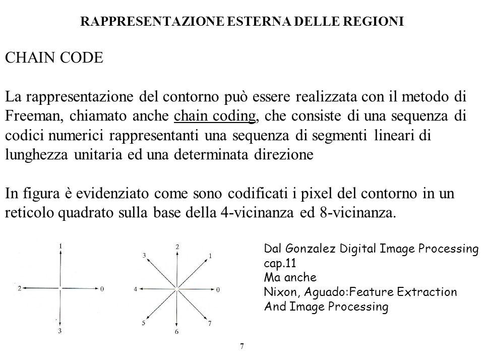 7 RAPPRESENTAZIONE ESTERNA DELLE REGIONI CHAIN CODE La rappresentazione del contorno può essere realizzata con il metodo di Freeman, chiamato anche ch