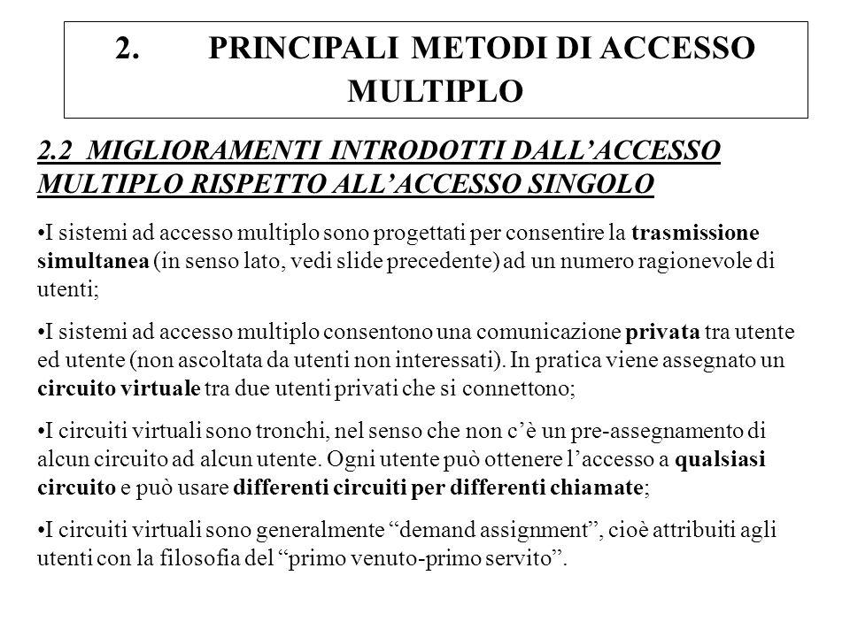 2. PRINCIPALI METODI DI ACCESSO MULTIPLO 2.2 MIGLIORAMENTI INTRODOTTI DALLACCESSO MULTIPLO RISPETTO ALLACCESSO SINGOLO I sistemi ad accesso multiplo s
