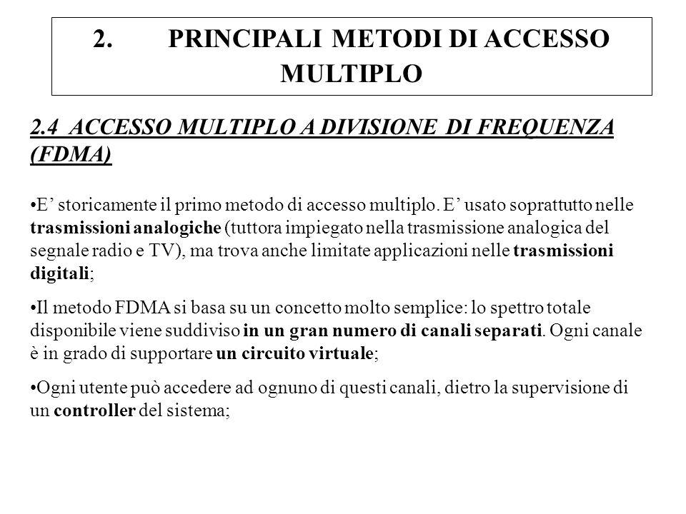 2. PRINCIPALI METODI DI ACCESSO MULTIPLO 2.4 ACCESSO MULTIPLO A DIVISIONE DI FREQUENZA (FDMA) E storicamente il primo metodo di accesso multiplo. E us