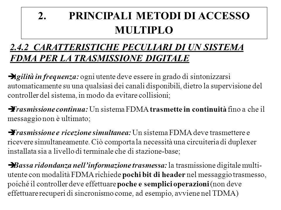 2. PRINCIPALI METODI DI ACCESSO MULTIPLO 2.4.2 CARATTERISTICHE PECULIARI DI UN SISTEMA FDMA PER LA TRASMISSIONE DIGITALE èAgilità in frequenza: ogni u